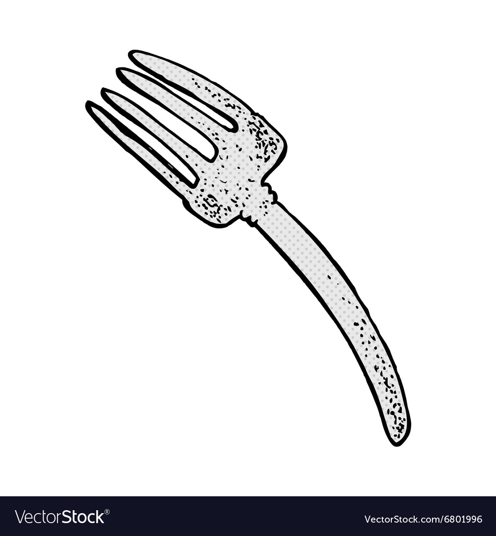 Comic cartoon fork vector