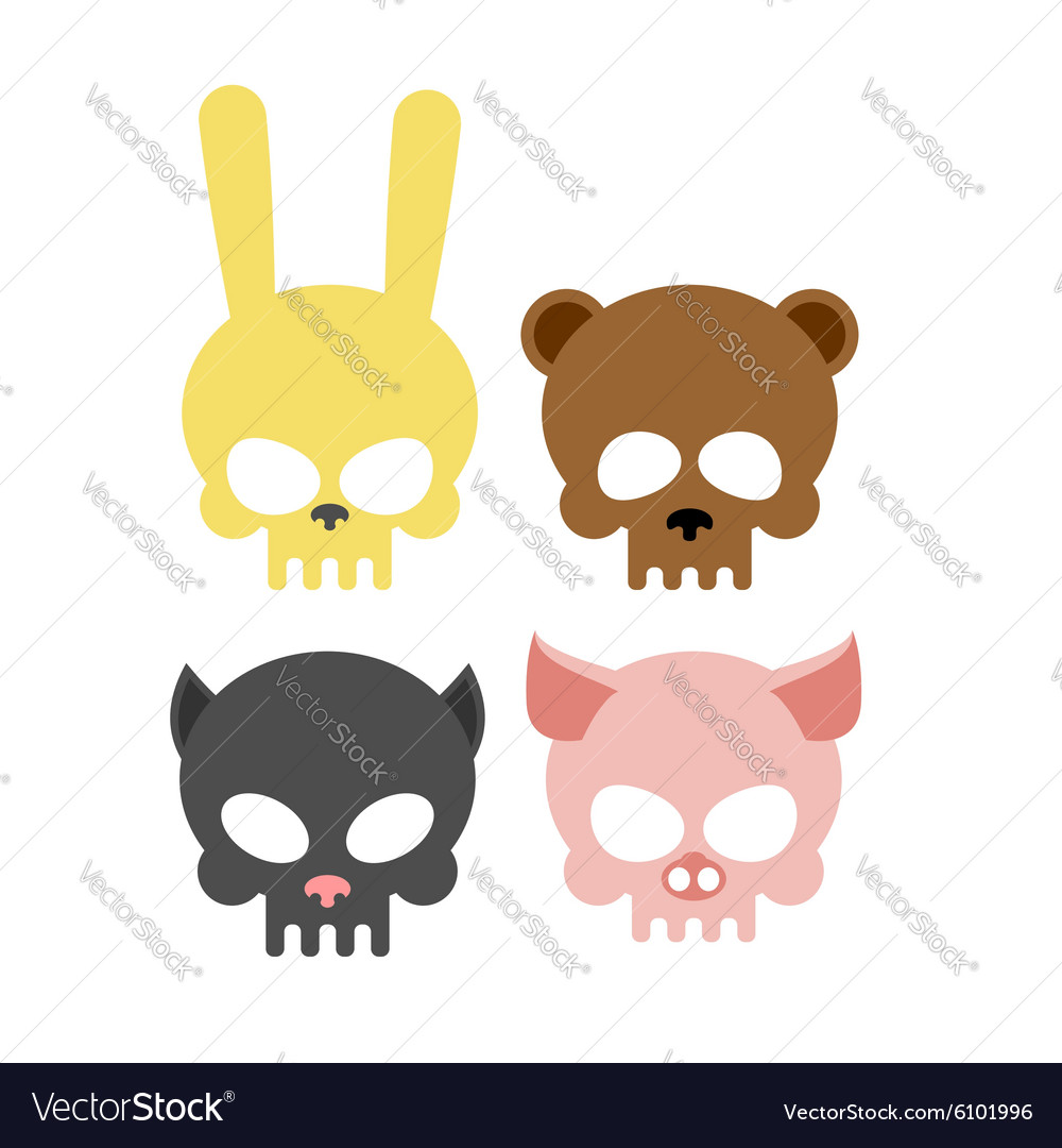 Cute animal skulls bear and pig head skeleton vector
