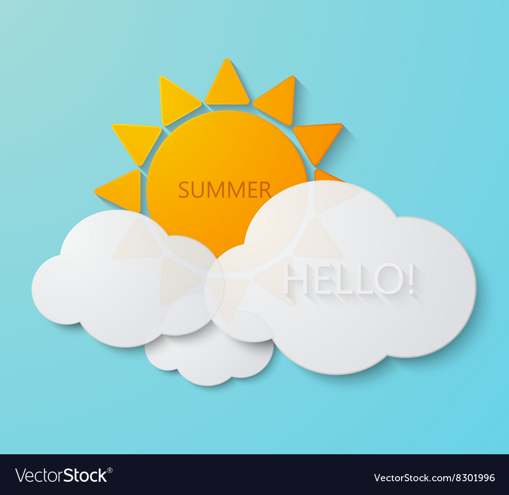 Modern sun with clouds background vector