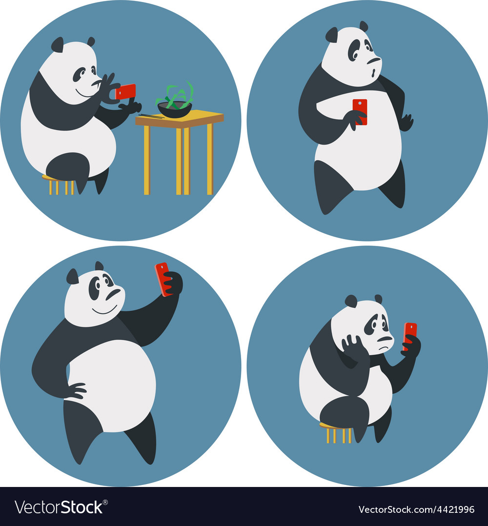 Social networks addicted panda vector