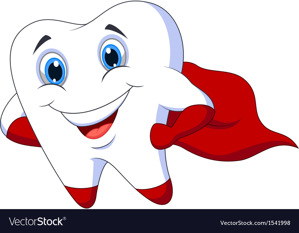 Cute cartoon superhero tooth posing vector
