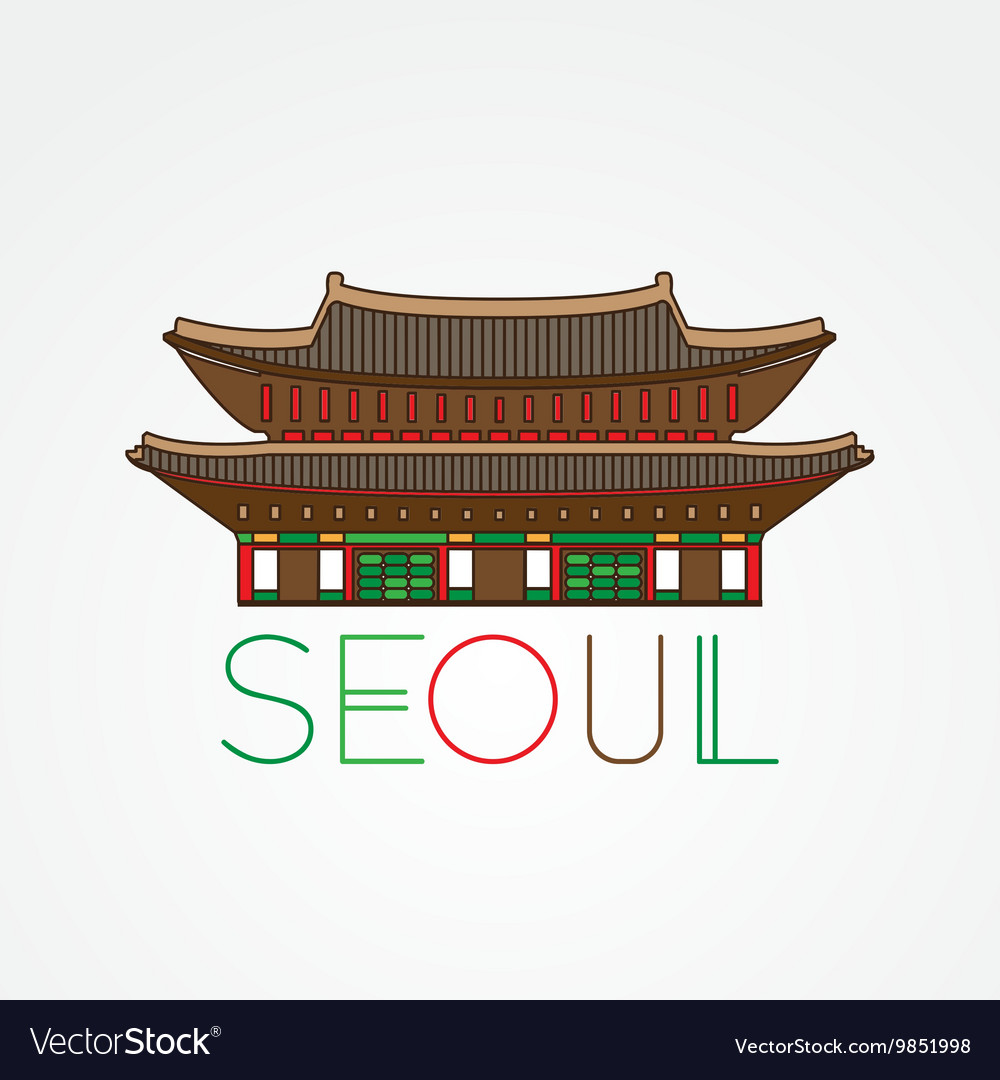 World famous gwanghwamun palace greatest vector