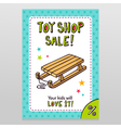 Toy shop sale flyer design with kids sleigh vector image