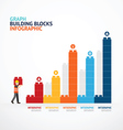 Infographic Template with building blocks graph vector image vector image