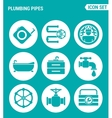 set of round icons white Plumbing pipe plumbing vector image