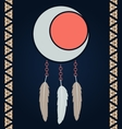 American indian magical dreamcatcher with feathers vector image