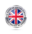 metal badge icon made in united kingdom with flag vector image