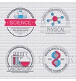 Science set label template of emblem element for vector image