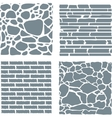 Stone and brick cladding texture set vector image