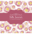 Watercolor floral card with message Hello Summer vector image