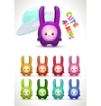 Cute colorful aliens with long ears vector image vector image