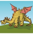 Brontosaurus with wings posuschiysya peacefully on vector image