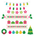 christmas design elements and decoration set vector image