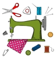 Flat sewing icons and machine vector image