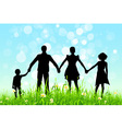 Green Grass and Blue Sky with Family Silhoue vector image