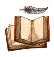 open book and feather pen sketch with copy space vector image vector image