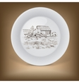Decorative plate with image of farmhouse vector image