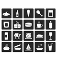 Black Shop and Foods Icons vector image
