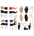 Hand Various images and silhouettes vector image