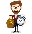 time is money concept background money saving vector image