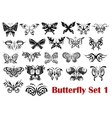 Butterfly silhouette icons vector image