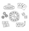 Casino and gambling sketched symbols vector image