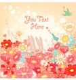 floral background with bunnies vector image