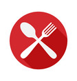 fork and spoon icon with long shadow vector image