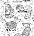 ink snowy seamless pattern with cartoon foxes in vector image