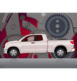 Pick-up truck with background vector image