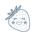 strawberry sweet fruit kawaii cute cartoon vector image