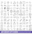 100 smart city icons set outline style vector image