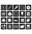 Black Office tools icons vector image