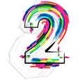 Colorful Number 2 vector image