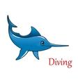 Cartoon swordfish character vector image