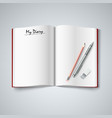 Blank diary were pages and pencil vector image vector image