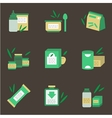 Baby nutrition flat color icons vector image