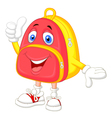 Cute bag cartoon with thumb up vector image