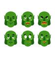 Emotions ogre Set emoji expressions avatar green vector image