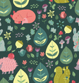 Forest Friends Cute seamless pattern vector image