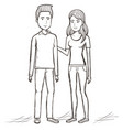hand drawn standing couple design vector image