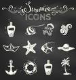 set of chalk summer icons vector image
