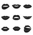 Set of glamour black lips Beautiful female lips vector image