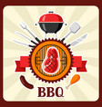 bbq card with grill objects and icons vector image vector image