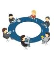 Six cartoon people work sitting round table vector image