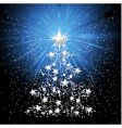 silver Christmas tree and stars vector image