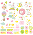 Baby Girl Unicorn Scrapbook Set Baby Tags vector image