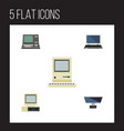 flat icon computer set of computer computing vector image