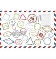 Postal stamps set on envelope vector image