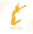 Sunny jumping girl golden leaves pattern vector image